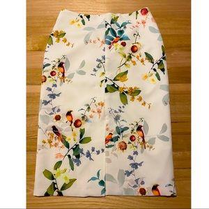 Oasis cream floral midi skirt size 12